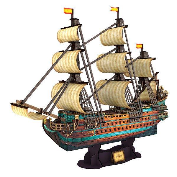 佳廷家庭 親子DIY紙模型3D立體拼圖專賣店 船舶軍艦遊艇 西班牙1690年聖菲利浦號戰艦 樂立方T4017