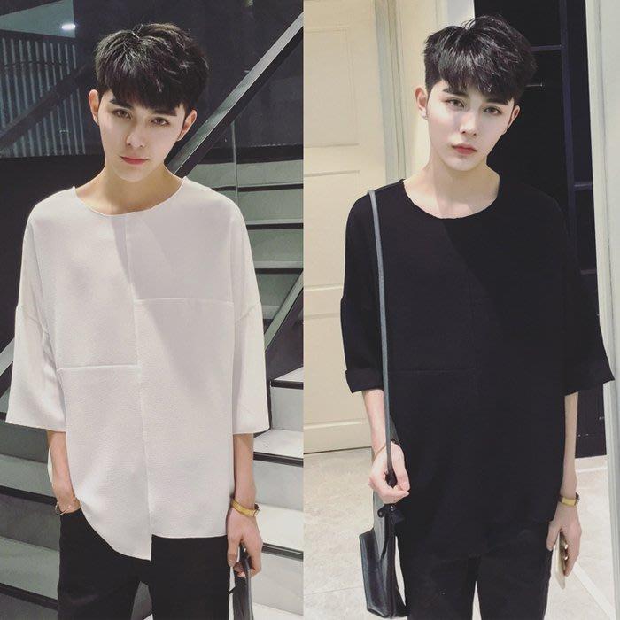 『潮范』 S6 男士暗黑原宿毛邊純色不對稱T恤 五分袖T恤 短袖T恤 素面T恤NRG1049