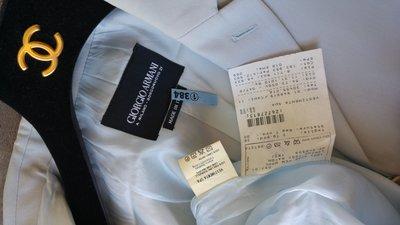 歐碼36 【GIORGIO ARMANI 】【阿曼尼】頂級黑標  淺灰藍色單排三扣西裝上衣