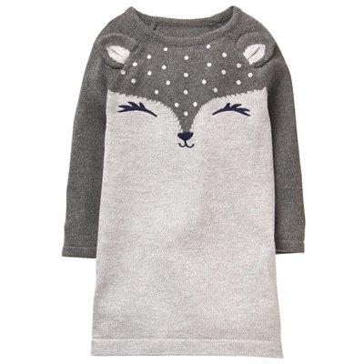 ⭐️芯希亞⭐️Gymboree秋冬超可愛灰色立體耳朵瞇瞇眼狐狸針織連身裙洋裝 2T/3T《現貨》
