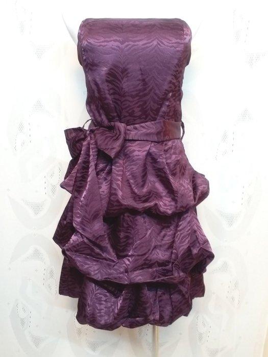 [bieerchen ]  現貨  L  紫色抓皺層次小禮服 洋裝