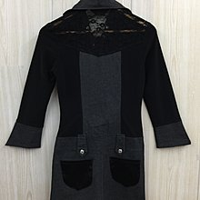 【愛莎&嵐】WEALTH HONOR 女 黑色交叉繩立領長袖洋裝 1091009
