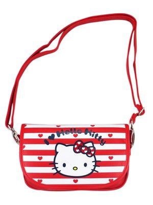 【卡漫迷】 Hello Kitty 可觸控 條紋大臉 皮革 肩背包 ㊣版 斜背包 手機包 萬用 外出包 化妝包 側背包