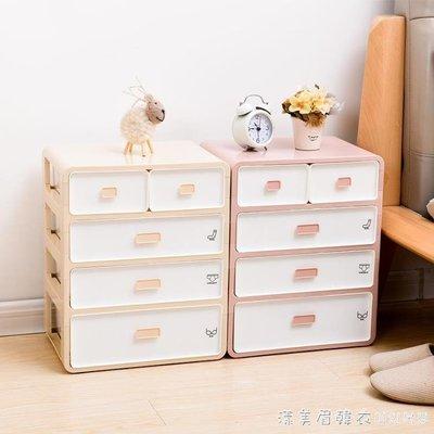 塑料家用抽屜式文胸內衣內褲襪子收納盒女三合一分隔整理箱儲物柜