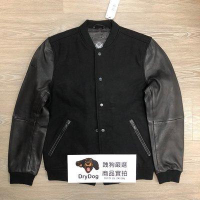 跩狗嚴選 稀有設計低調質感 極度乾燥 Superdry Wool 黑色 皮衣 外套 真皮 棒球夾克 69%羊毛 拼接皮袖