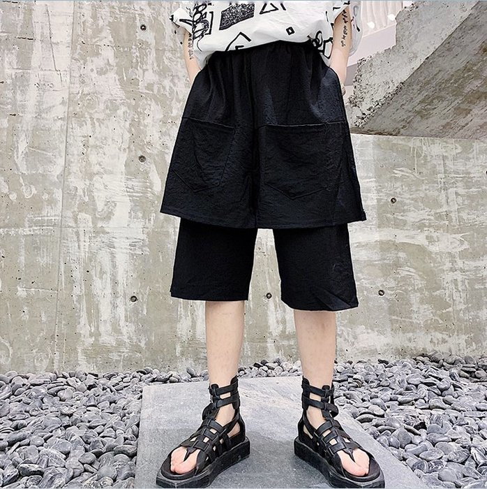 ☆~崇尚潮男瘋~☆【A28-DK457 韓版暗黑原創設計師款演出服假兩件個性休閒短裙褲】