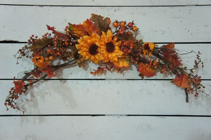 ~*歐室精品傢飾館*~ 人造花花藝設計~太陽花/向日葵/果實門楣吊飾.掛飾~新款上市~限量特價~