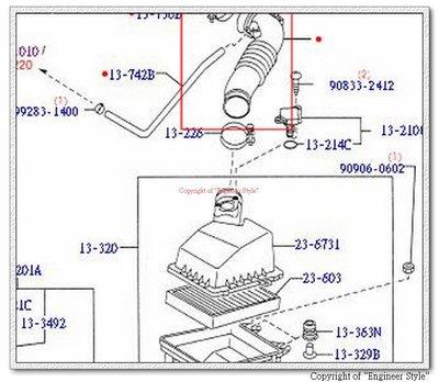 [正廠][進氣軟管/空氣芯軟管/肥腸][適用:TIERRA 99- ][日本製]