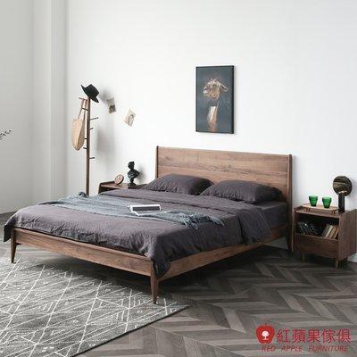 [紅蘋果傢俱]HM003  5尺床架 北歐風床架 日式床架 實木床架 無印風 簡約風