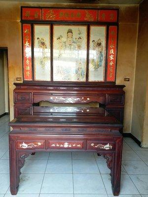 神明桌上下,神佛桌,公媽桌,二手鑲貝紅花梨木,保養良好,家中整修便宜出售