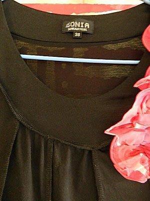 ~櫻花雨~ 法國針織女王 SONIA   SONIA RYKIEL  桑麗卡 黑底 立體紅花 時尚造型上衣 38號