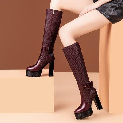 真皮長靴 高筒靴 高跟 2020冬季新款 防水台 馬丁靴