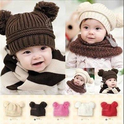 高品質 韓版男女嬰兒童寶寶雙球球毛線帽秋冬保暖護耳帽 台北市