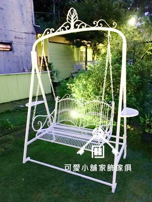 (台中 可愛小舖)歐式古典鐵藝浪漫花邊盪鞦韆雙人椅穩固戶外雙人椅花園庭院婚紗業者莊園民宿草原景點大型戶外擺件 拍照攝影棚