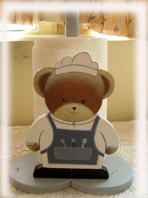 松木 餐巾架**樂在幸福**木作坊 ~A01~實木手繪廚師熊捲筒餐巾架~可愛ㄋㄟ