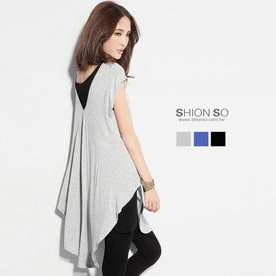 享瘦衣身中大尺碼【B1574】兩面穿搭下擺圓弧設計款長版上衣