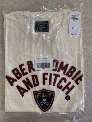 AF Abercrombie and Fitch A&F 男生刺繡圖案經典短tee 全新正品 現貨在台 M號 米白色