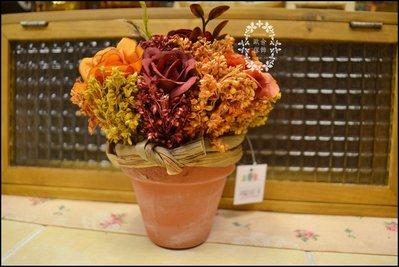 鄉村風 橘紅色玫瑰花+乾燥花小陶盆栽 ...