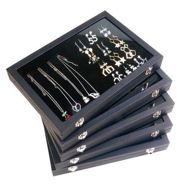 *八號店舖*黑布絨 收納盒 項鍊盒 飾品盒 耳環盒 戒指盒 手環 珠寶盒