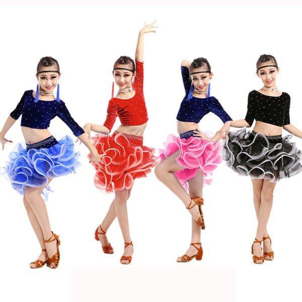 5Cgo【鴿樓】會員有優惠  521753229010 女童拉丁舞演出服少兒比賽服表演服女拉丁舞裙練功服 兒童舞衣