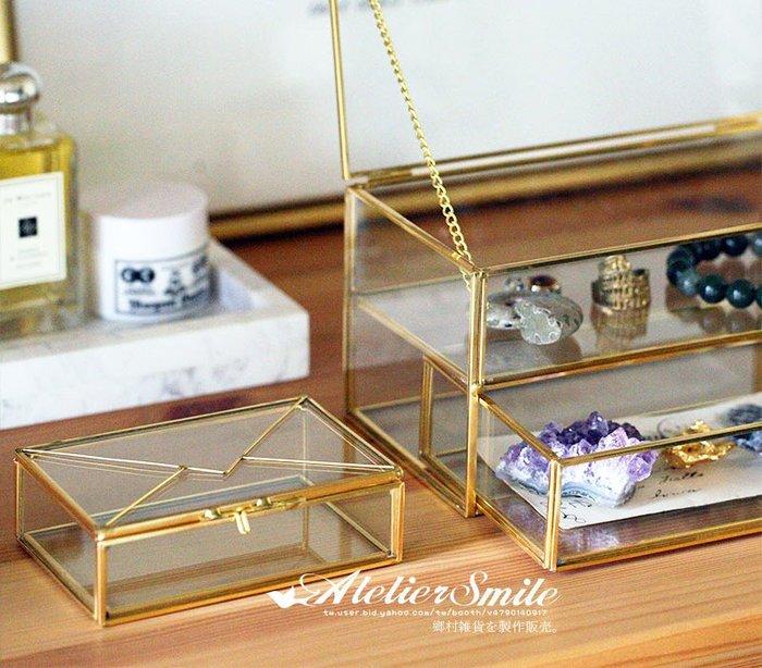 [ Atelier Smile ] 鄉村雜貨 復古歐式 手工銅製雙層 玻璃展示首飾盒 收納盒 # 20 (特價)