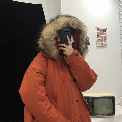 【柒姐姐】冬季純色青少年寬松連帽大毛領棉服外套韓版潮流男士oversize棉衣