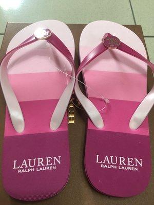 正品 Ralph Lauren RL美國名品超好看粉紅色漸層LOGO涼鞋 (Size7-8) 超適合長裙/寬褲/熱褲