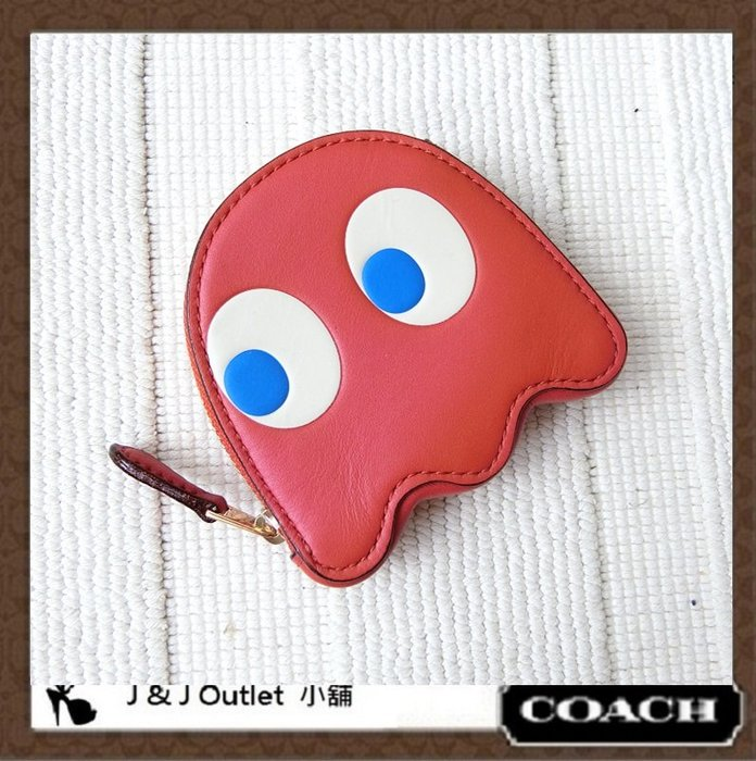 [JJ Outlet 小舖精選特惠, 現貨在台]全新Coach 73165 可愛小精靈限量款零錢包(附購証)