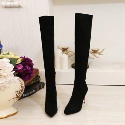 真皮過膝靴 高跟長靴-精美高貴奢華水鑽跟女鞋73iv31[獨家進口][巴黎精品]