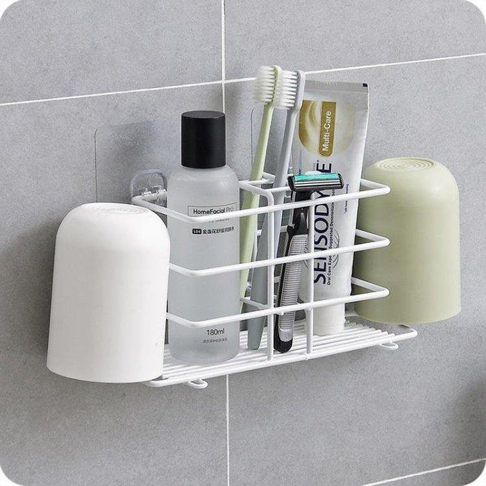 壁掛式鐵藝牙刷架 衛生間漱口杯架牙具座免打孔浴室牙刷牙膏架