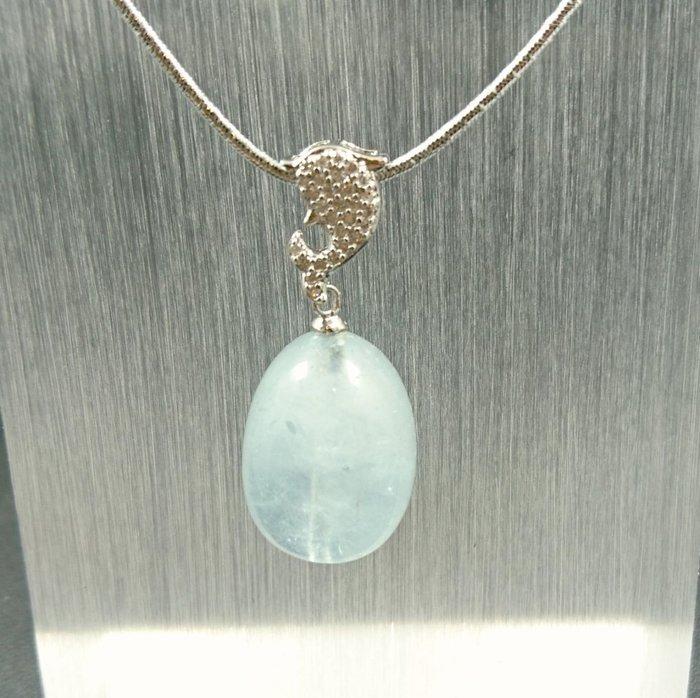 ~水晶花園~  躍出海洋的海豚 海水藍室墜子(不含鍊子)(純銀)