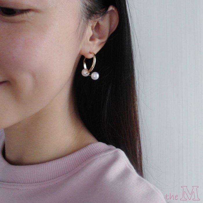 The M 正韓 珍珠 雙C 圈圈耳環-925純銀 耳針