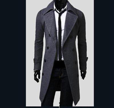 黑色風衣男正韓英倫青年修身素面外套大衣中長版披風秋季