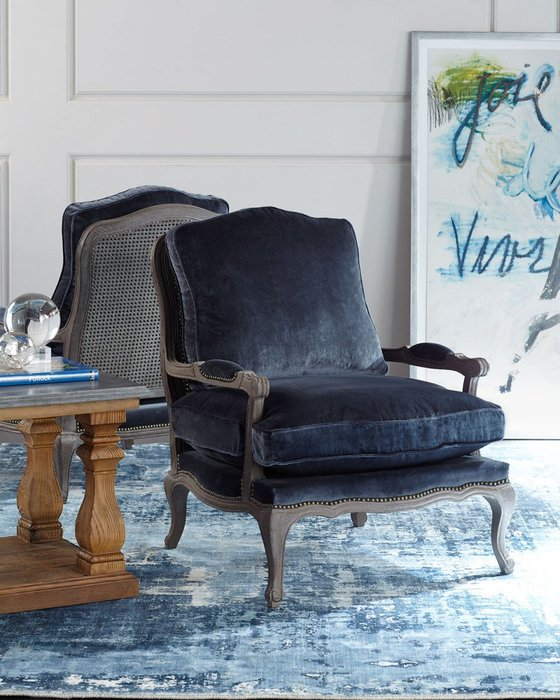 法式餐桌藝術 美國進口藤背單人沙發椅 絲絨藍 團購價