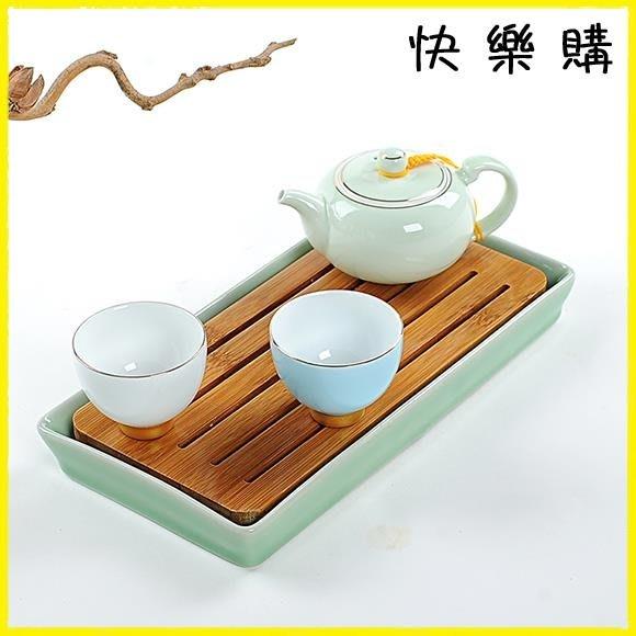 茶盤  瓷神陶瓷儲水式茶盤方形干泡茶臺小號茶托盤
