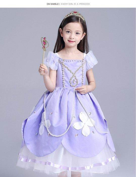 【衣Qbaby]萬聖節造型服裝角色扮演蘇菲亞公主長禮服(含皇冠及權杖+袖套)