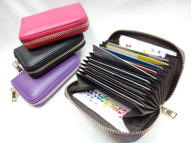 *迪奧小店*名牌BONNIE風琴式卡夾拉鍊包/信用卡悠遊卡身份證件卡片收納/真羊皮無印系列/多色/特價