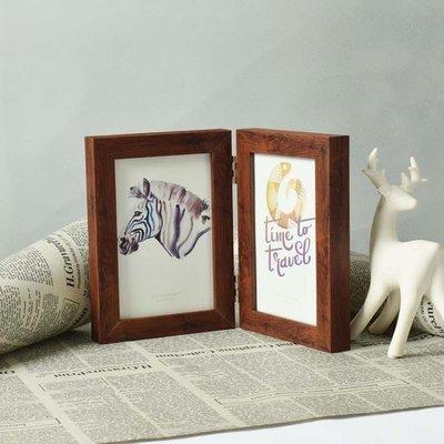 北歐簡約創意折疊相框擺臺 5寸兩折相片框連體相冊情侶組合畫框【非凡女廊】