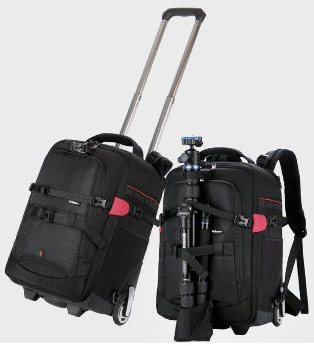 呈現攝影-SAMARK 拉捍雙肩後背包 小號 黑紅色 大滑輪 相機包 旅行箱