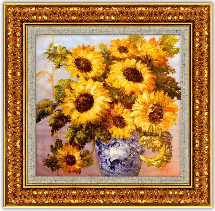 {藝術之都}手繪創作油畫~夏豔:向日葵 ~完成作品實品拍攝  實木框可直接懸掛