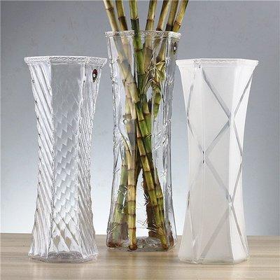 花瓶富貴竹中大號玻璃透明百合水培簡約現代六角客廳桌面插花花瓶 WD    全館免運