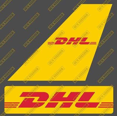 DHL Express 貨運航空 垂直尾翼與機身商標 貼紙  尺寸上63x86mm 下 23x90mm