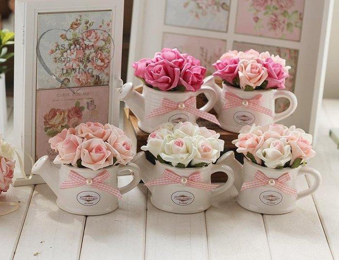 粉紅玫瑰精品屋~韓式仿真花 新款手感幸福玫瑰花灑款盆栽 仿真花~