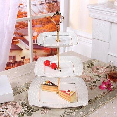 陶瓷水果盤歐式三層點心盤蛋糕盤多層點心...