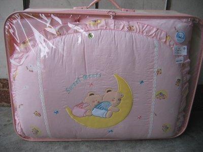 *童車王*全新品 月亮熊 床罩組 防瞞 抗菌 七件式 嬰幼兒 高級 寢具 棉被組 台灣製造