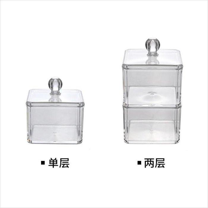 【免運】桌面置物桌面化妝檯 化妝棉收納盒 透明 有蓋~『金色年華』