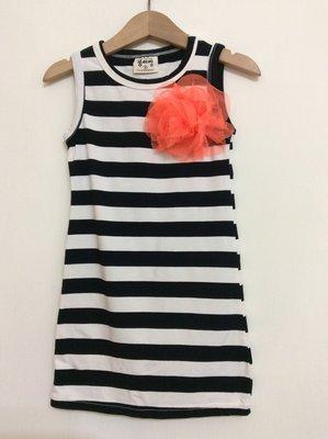 媽媽咪呀~Mamma Mia韓國童裝!過季零碼出清!黑白條紋花朵長版洋裝