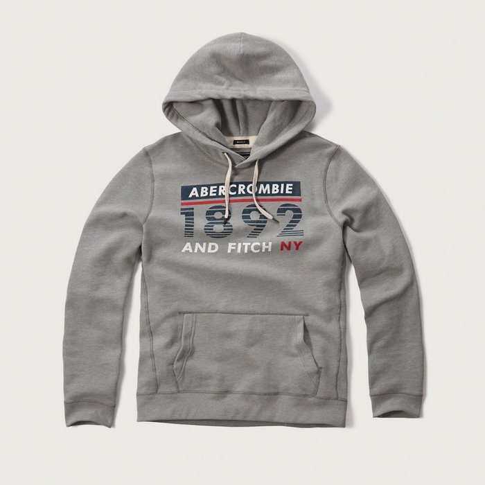 美國百分百【Abercrombie & Fitch】帽T AF 連帽 長袖 上衣 麋鹿 復古 灰色 S號 特價 H077