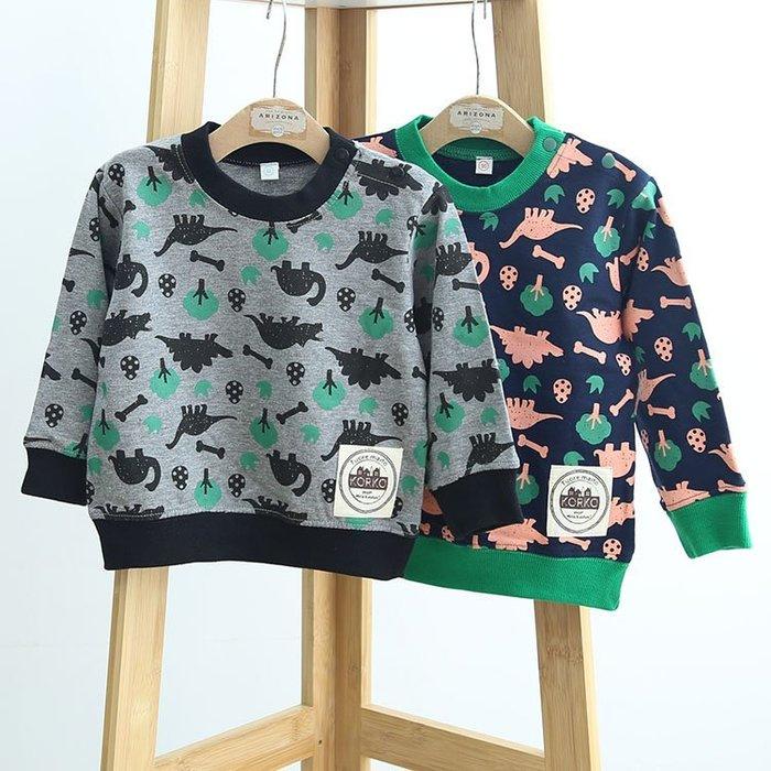 ☆草莓花園☆DD61可愛小恐龍  日系兒童長袖衣服 毛圈上衣T恤   男童 童T恤