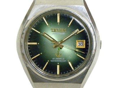 [專業模型] 機械錶 [TELUX 7212] 鐵力士 圓型[21石]自動錶[綠漸增面+日期]中性錶/軍錶